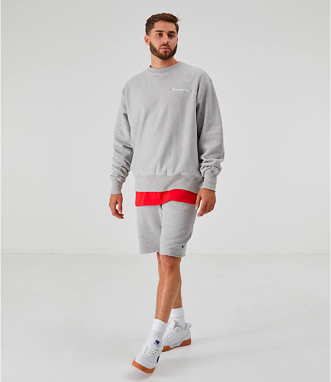 Front Three Quarter view of Men's Champion Reverse Weave Small Script Crewneck Sweatshirt in Oxford Grey