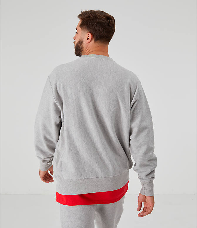 Back Right view of Men's Champion Reverse Weave Small Script Crewneck Sweatshirt in Oxford Grey