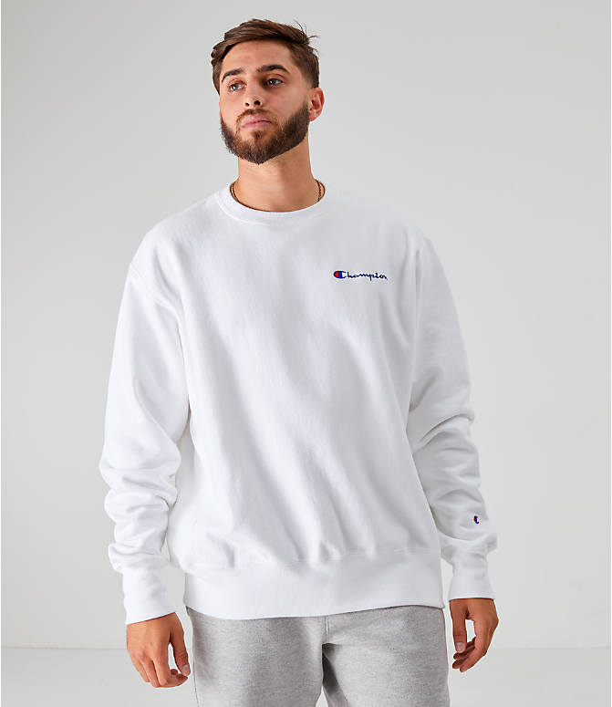 Front view of Men's Champion Reverse Weave Small Script Crewneck Sweatshirt in White