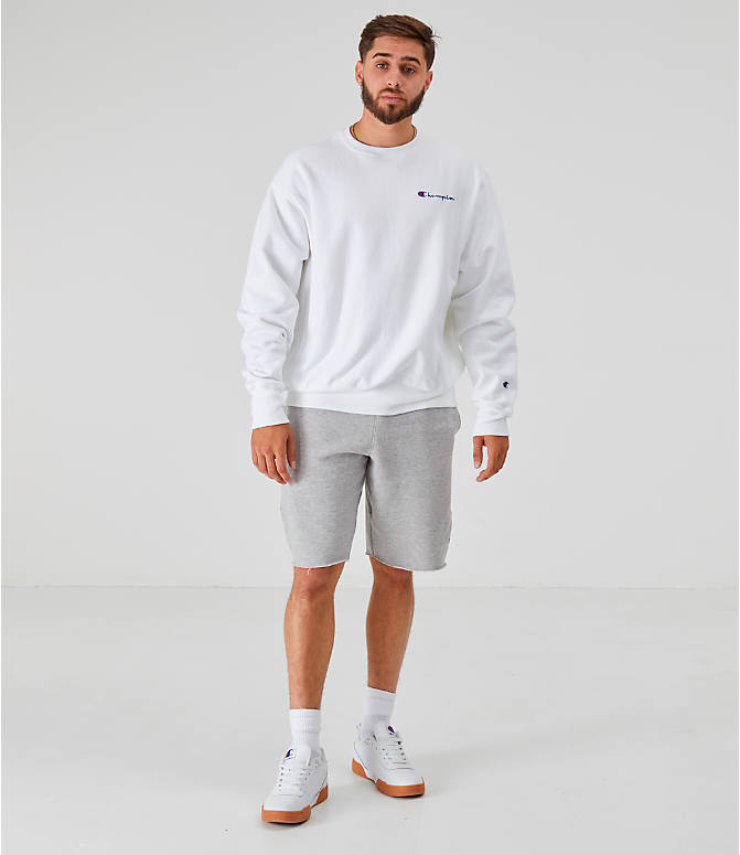 Front Three Quarter view of Men's Champion Reverse Weave Small Script Crewneck Sweatshirt in White