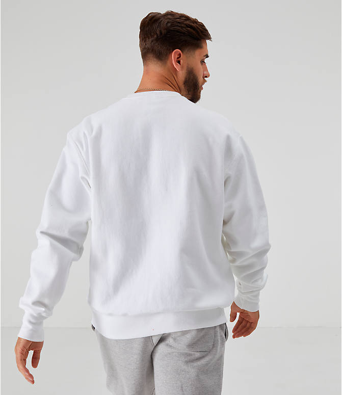 Back Left view of Men's Champion Reverse Weave Small Script Crewneck Sweatshirt in White