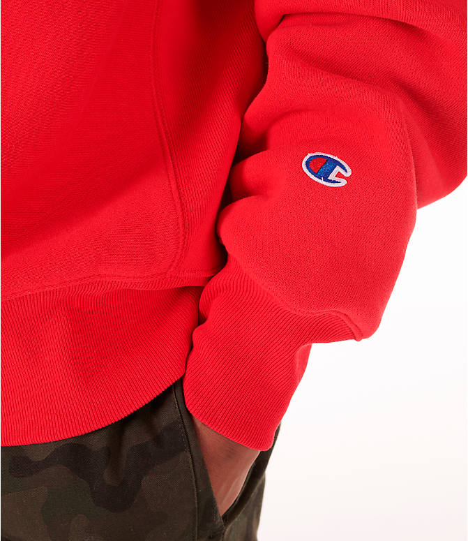 Detail 1 view of Men's Champion Reverse Weave Big C Patch Crewneck Sweatshirt in Red