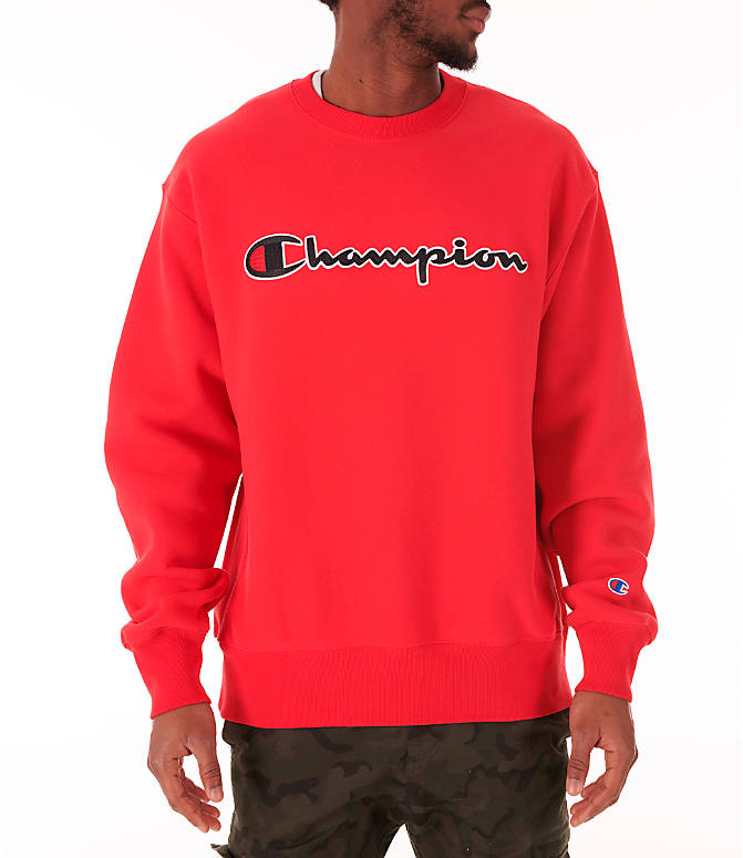 Front view of Men's Champion Reverse Weave Big C Patch Crewneck Sweatshirt in Red