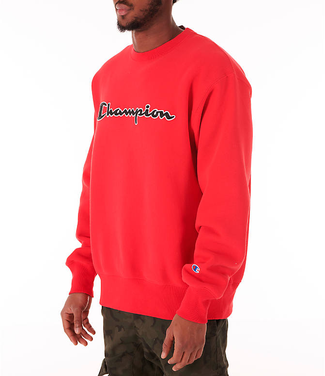 Front Three Quarter view of Men's Champion Reverse Weave Big C Patch Crewneck Sweatshirt in Red