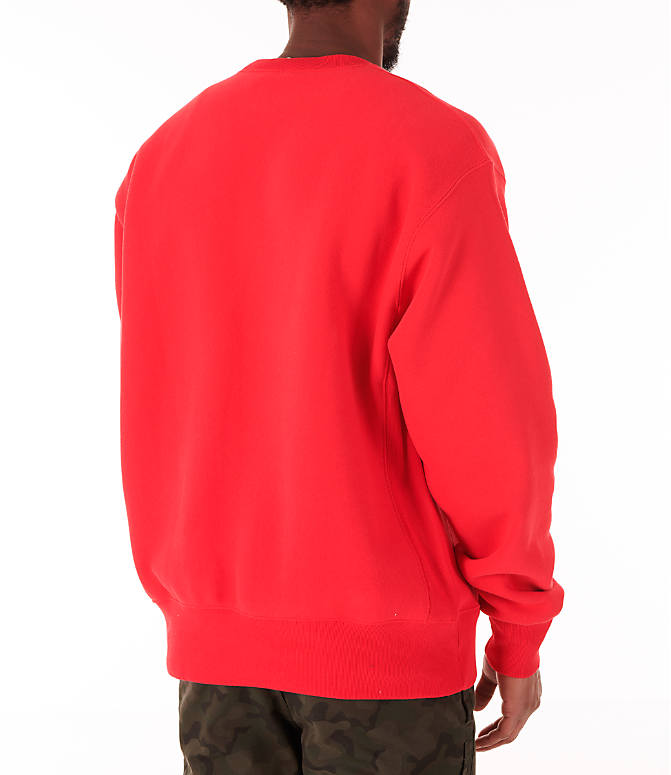 Back Right view of Men's Champion Reverse Weave Big C Patch Crewneck Sweatshirt in Red