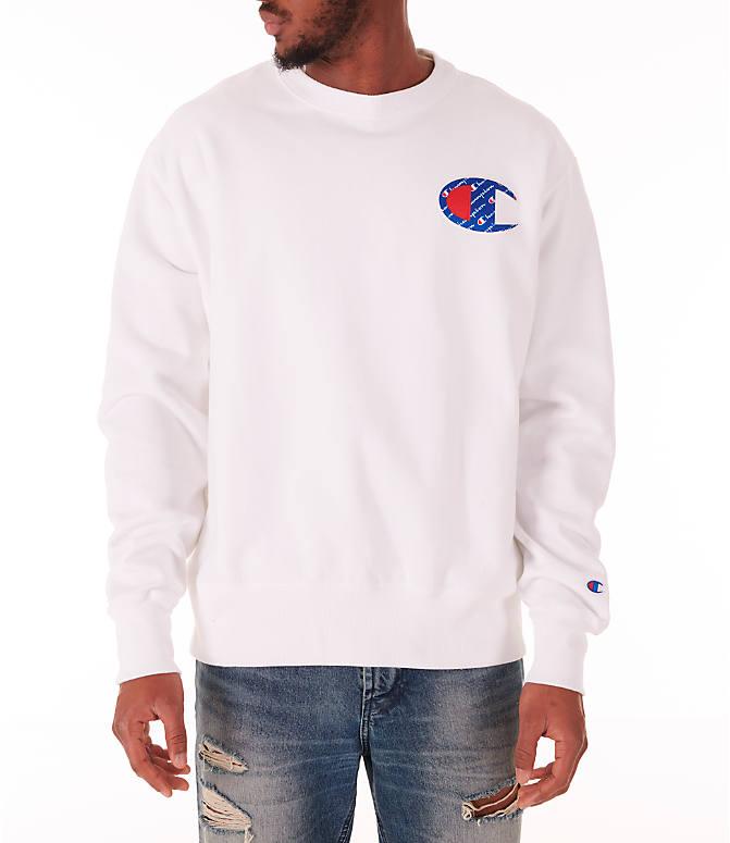 Front view of Men s Champion Reverse Weave Big C Patch Crewneck Sweatshirt  in White 8c64c2022603