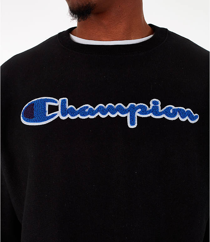 Detail 1 view of Men's Champion Reverse Weave Chenille Logo Crewneck Sweatshirt in Black