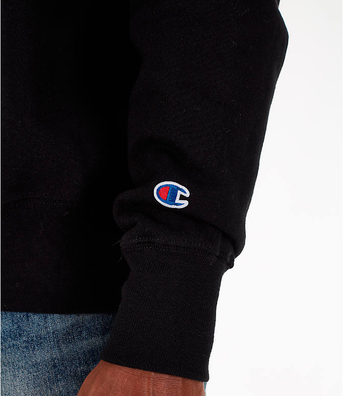 Detail 2 view of Men's Champion Reverse Weave Chenille Logo Crewneck Sweatshirt in Black