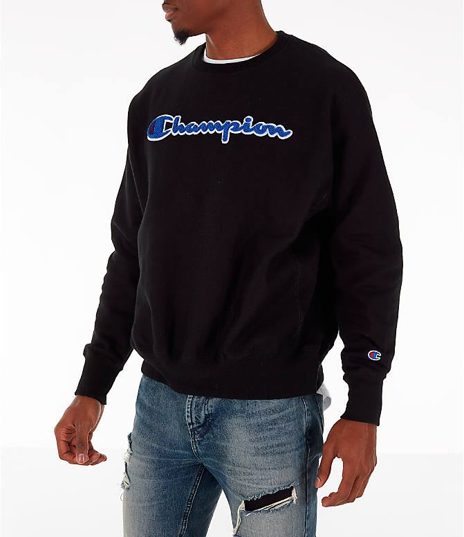 Front Three Quarter view of Men's Champion Reverse Weave Chenille Logo Crewneck Sweatshirt in Black