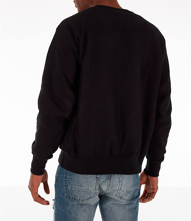 Back Left view of Men's Champion Reverse Weave Chenille Logo Crewneck Sweatshirt in Black