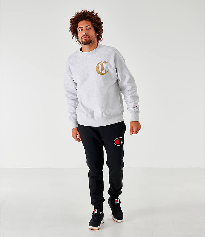 Front Three Quarter view of Men's Champion Old English Script Crewneck Sweatshirt in Grey