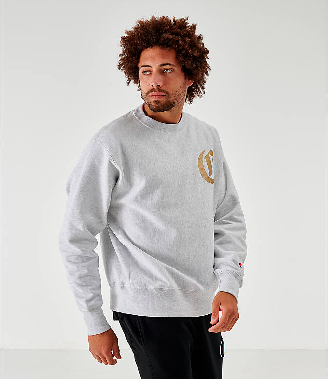 Back Left view of Men's Champion Old English Script Crewneck Sweatshirt in Grey
