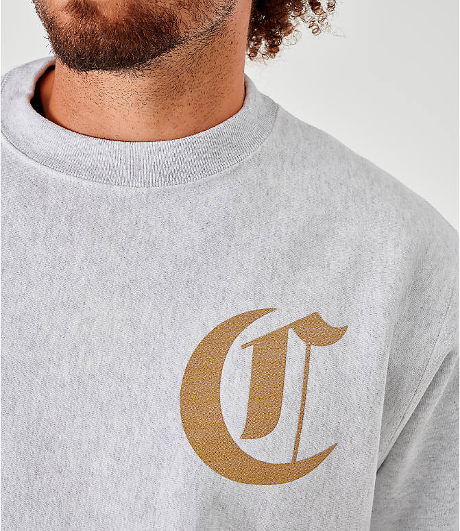 Back Right view of Men's Champion Old English Script Crewneck Sweatshirt in Grey