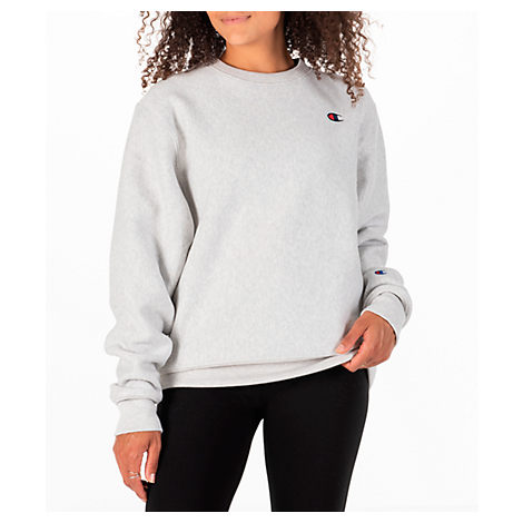 WOMEN'S CHAMPION SIGNATURE SMALL LOGO CREW SWEATSHIRT, GREY