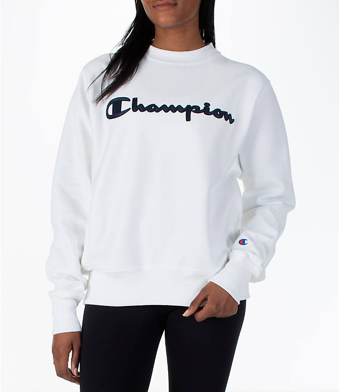 Front view of Women's Champion Reverse Weave Crew Sweatshirt in White