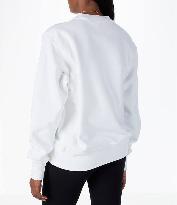 Back Left view of Women's Champion Reverse Weave Crew Sweatshirt in White