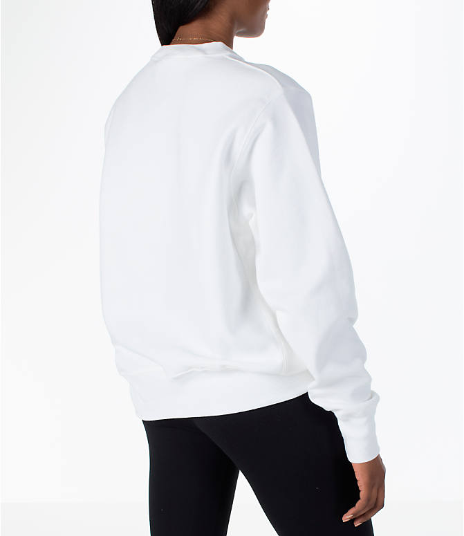 Back Right view of Women's Champion Reverse Weave Crew Sweatshirt in White