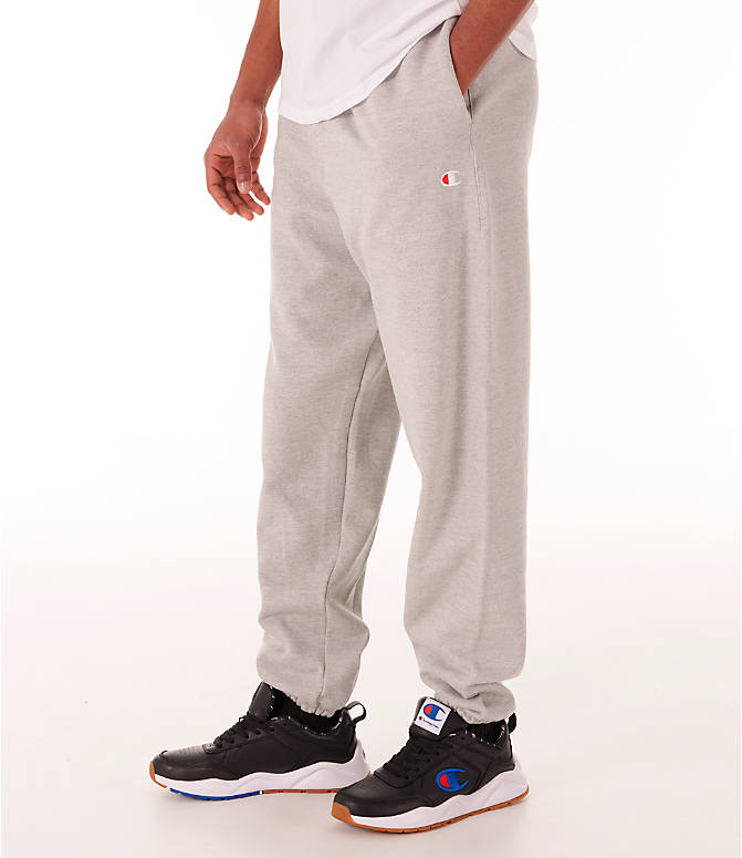 33be33e64512 Front view of Men s Champion Reverse Weave Banded Jogger Pants in Heather  Grey