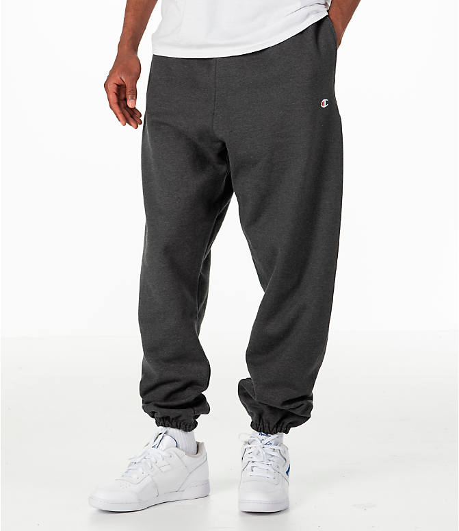 Front view of Men's Champion Banded Bottom Pants in Granite Heather