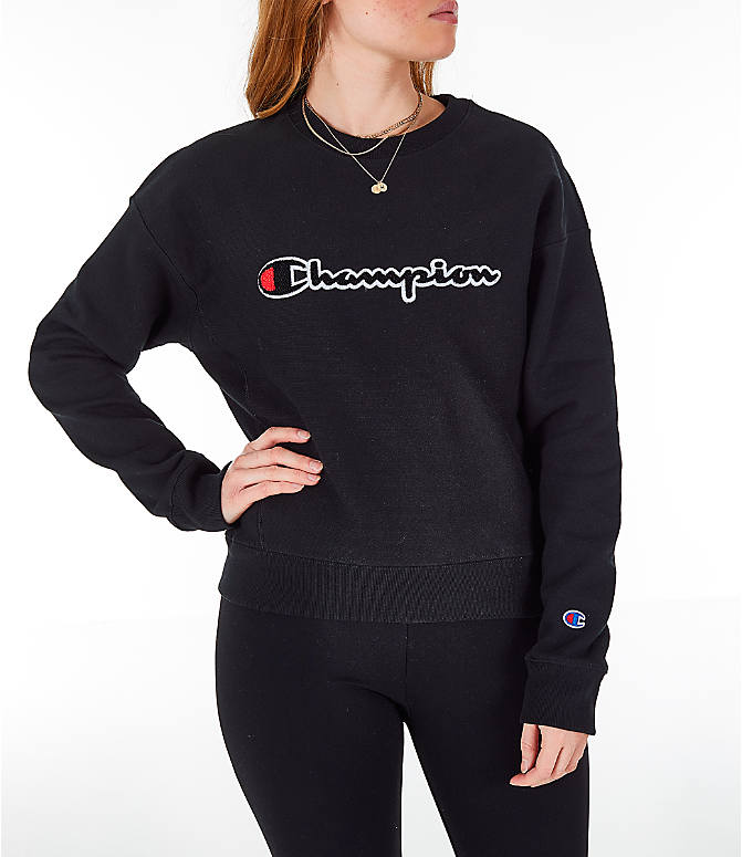 Front view of Women s Champion Reverse Weave Chenille Crew Sweatshirt in  Black 9c7cb21bdc