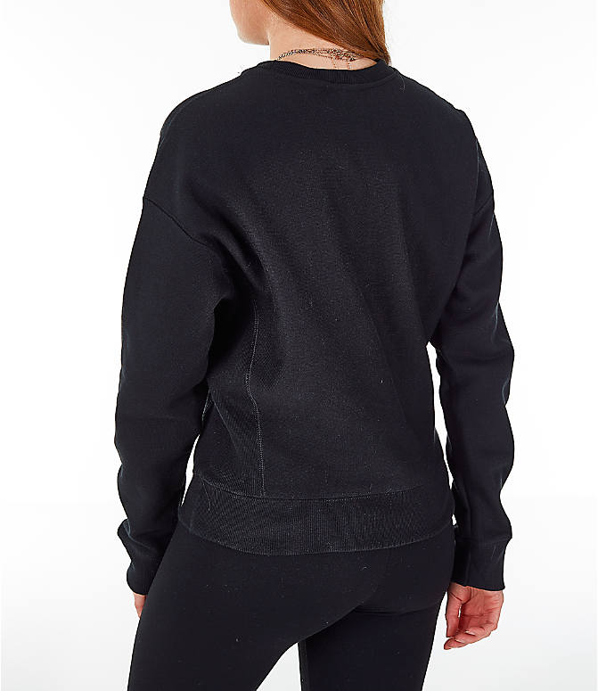 Back Left view of Women's Champion Reverse Weave Chenille Crew Sweatshirt in Black