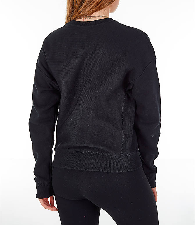 Back Right view of Women's Champion Reverse Weave Chenille Crew Sweatshirt in Black