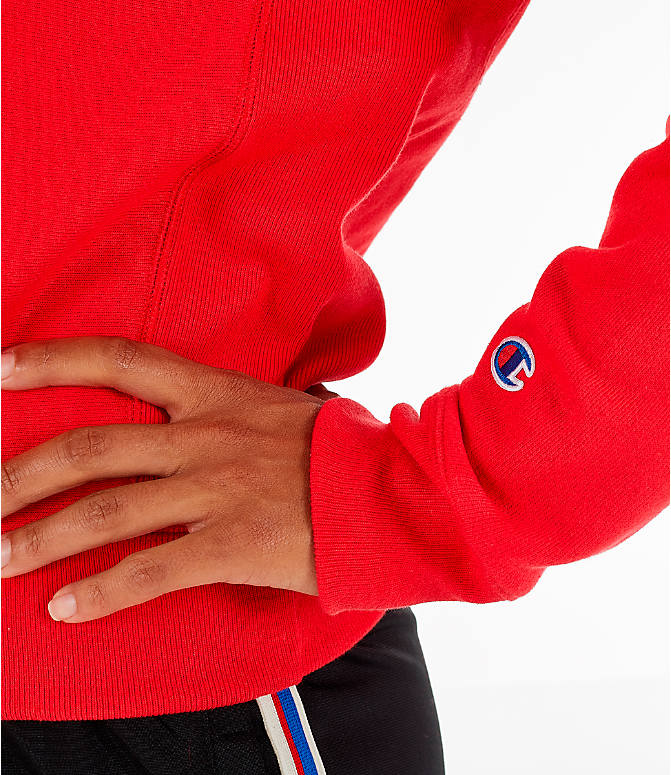 Detail 2 view of Women's Champion Reverse Weave Crew Sweatshirt in Red Spark