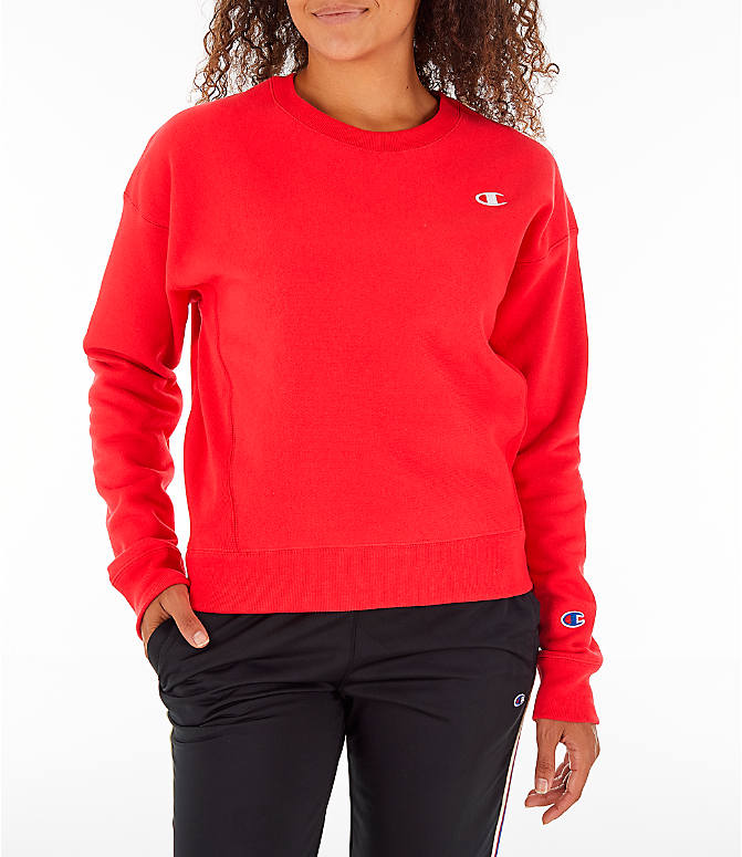 Front view of Women's Champion Reverse Weave Crew Sweatshirt in Red Spark