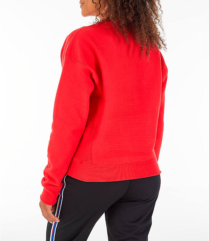 Back Left view of Women's Champion Reverse Weave Crew Sweatshirt in Red Spark