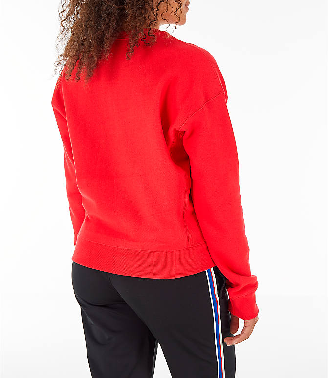 Back Right view of Women's Champion Reverse Weave Crew Sweatshirt in Red Spark