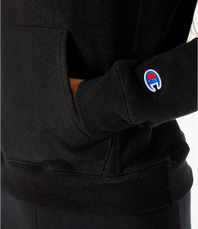 Detail 2 view of Women's Champion Reverse Weave Chenille Hoodie in Black