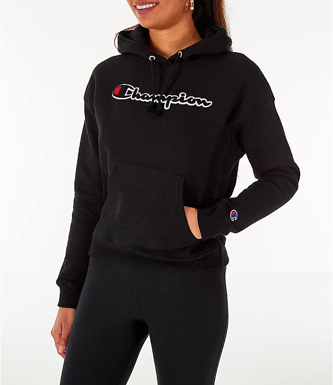 Front view of Women's Champion Reverse Weave Chenille Hoodie in Black