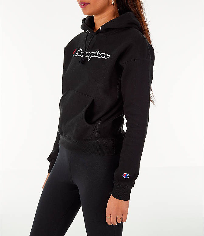 Front Three Quarter view of Women's Champion Reverse Weave Chenille Hoodie in Black
