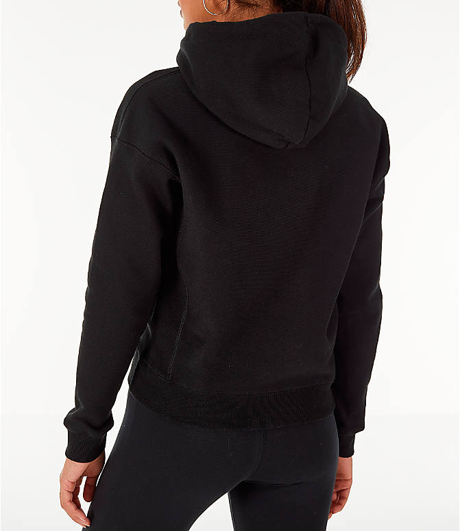Back Left view of Women's Champion Reverse Weave Chenille Hoodie in Black