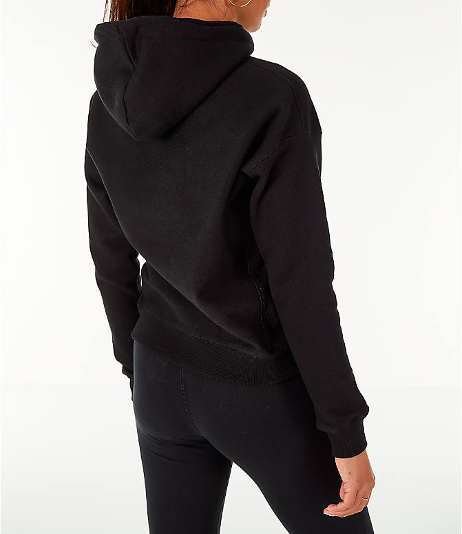 Back Right view of Women's Champion Reverse Weave Chenille Hoodie in Black