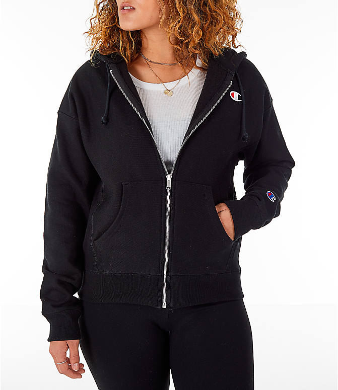Front view of Women s Champion Reverse Weave Full-Zip Hoodie in Black bfa4b57120