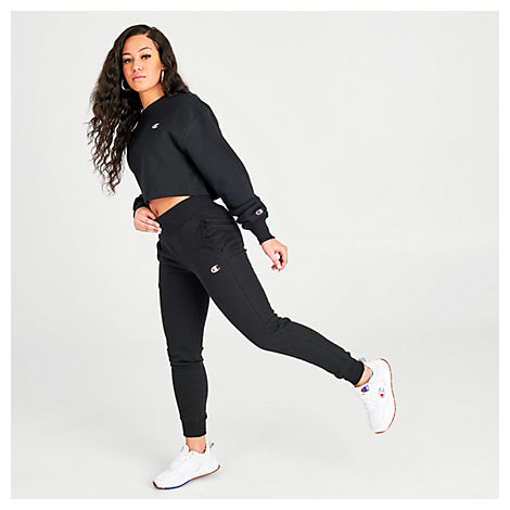 Champion Pants CHAMPION WOMEN'S REVERSE WEAVE SMALL LOGO JOGGER SWEATPANTS IN BLACK SIZE X-LARGE