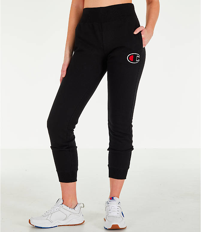 Front view of Women's Champion Reverse Weave Chenille Jogger Sweatpants in Black