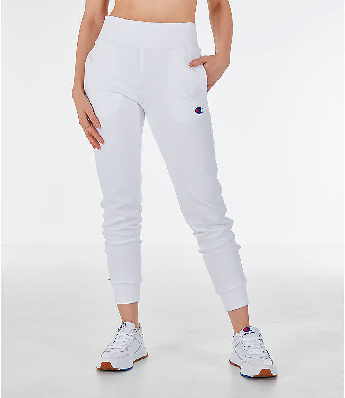 61b4bc0775e Front Three Quarter view of Women s Champion Reverse Weave Chenille Jogger  Sweatpants in White
