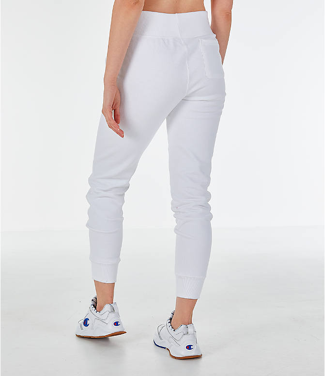 Back Left view of Women's Champion Reverse Weave Chenille Jogger Sweatpants in White