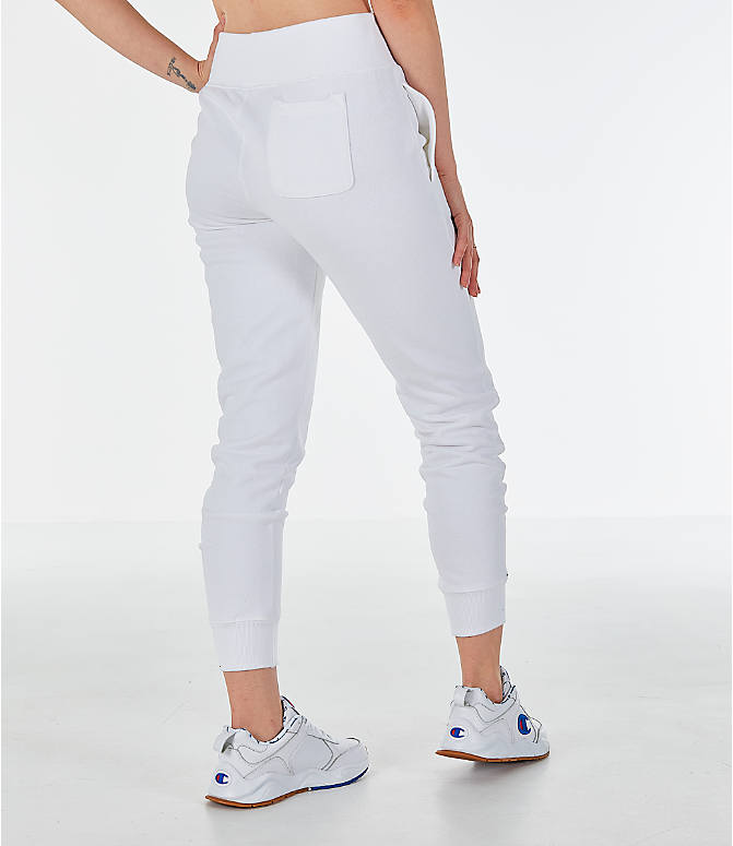 Back Right view of Women's Champion Reverse Weave Chenille Jogger Sweatpants in White