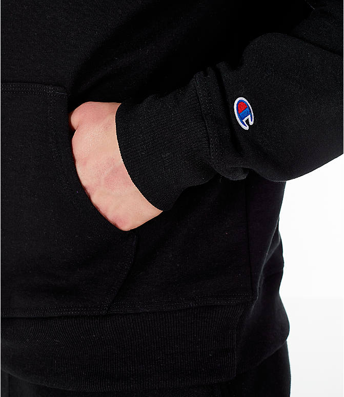 Detail 2 view of Men's Champion Powerblend Graphic Hoodie in Black