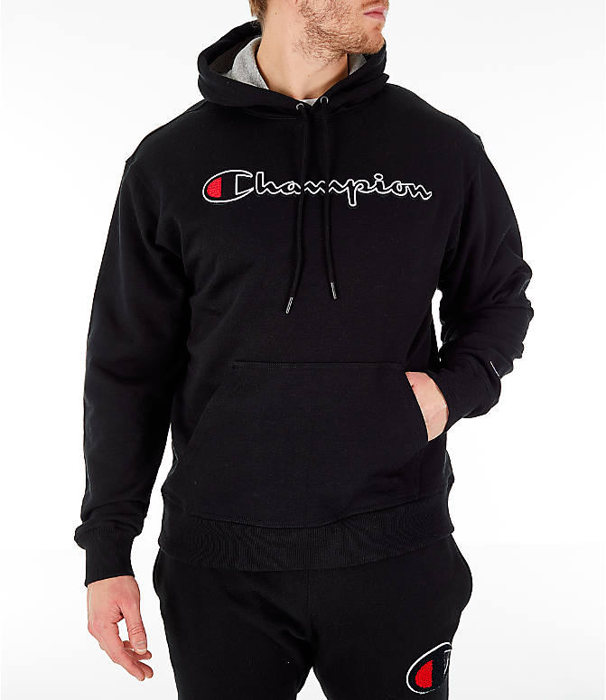 Front view of Men's Champion Powerblend Graphic Hoodie in Black