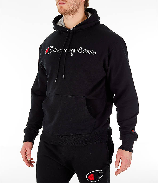 Front Three Quarter view of Men's Champion Powerblend Graphic Hoodie in Black