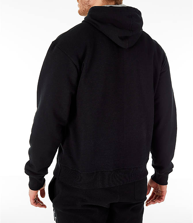 Back Left view of Men's Champion Powerblend Graphic Hoodie in Black