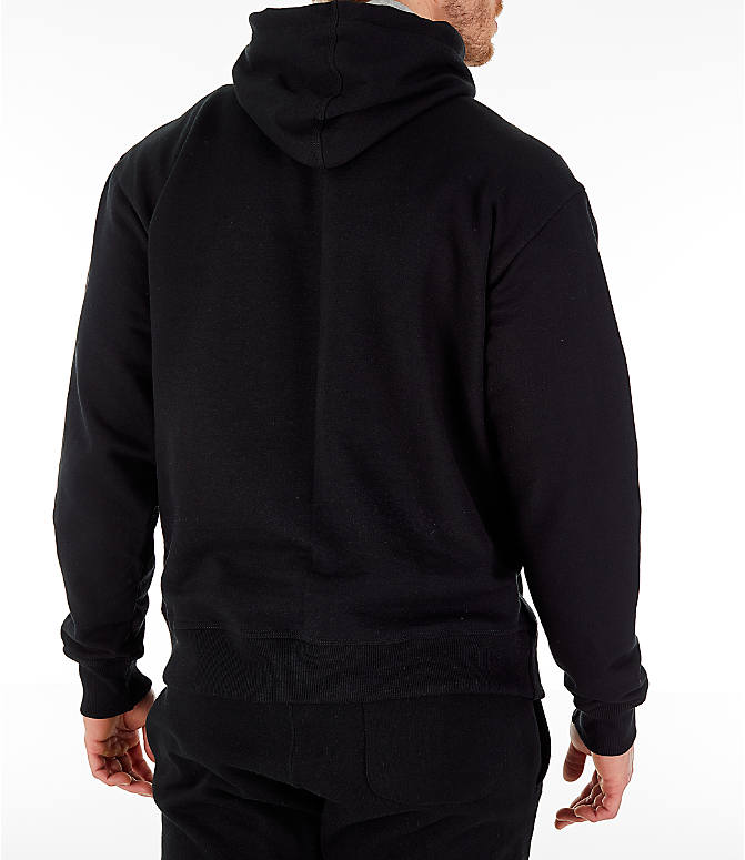 Back Right view of Men's Champion Powerblend Graphic Hoodie in Black