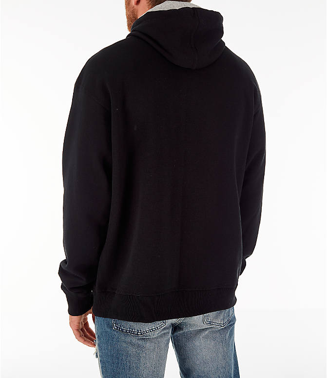 Back Left view of Men's Champion Powerblend Full-Zip Hoodie in Black