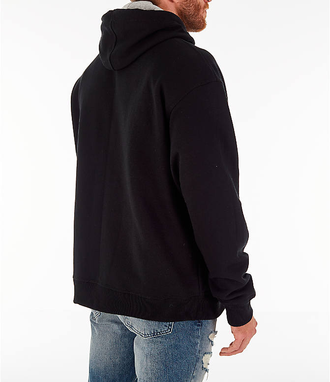 Back Right view of Men's Champion Powerblend Full-Zip Hoodie in Black