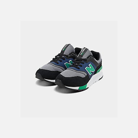 Three Quarter view of Boys' Big Kids' New Balance 997 Casual Shoes in Black/Verdite