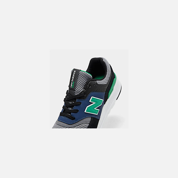 Front view of Boys' Big Kids' New Balance 997 Casual Shoes in Black/Verdite
